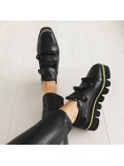 Pantofi oxford piele naturala neagra   femei  - shop designeri romani