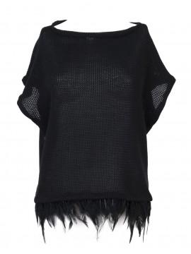 Bluza din tricot de lana, cu pene de cocos - Dana Tanase