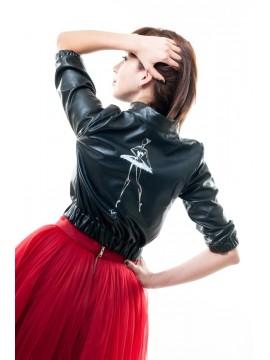 Jacheta din piele naturala, pictata manual - Dana Tanase