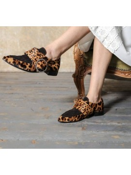 Pantofi din piele naturala alba animal print si catarama  - Zenon