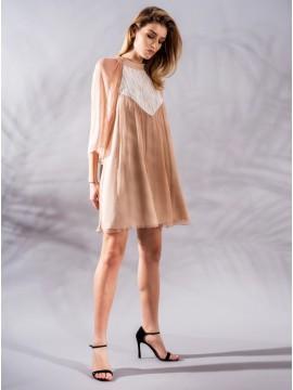 Rochie roz quartz din voal  - designeri romani