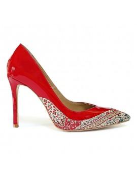 Pantofi din piele naturala, stiletto, rosii - bianca georgescu