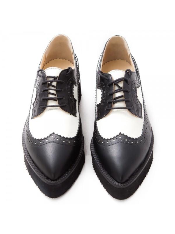Pantofi oxford alb negru femei  - shop designeri romani