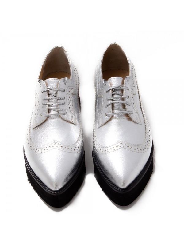 Pantofi oxford argintiu femei  - shop designeri romani