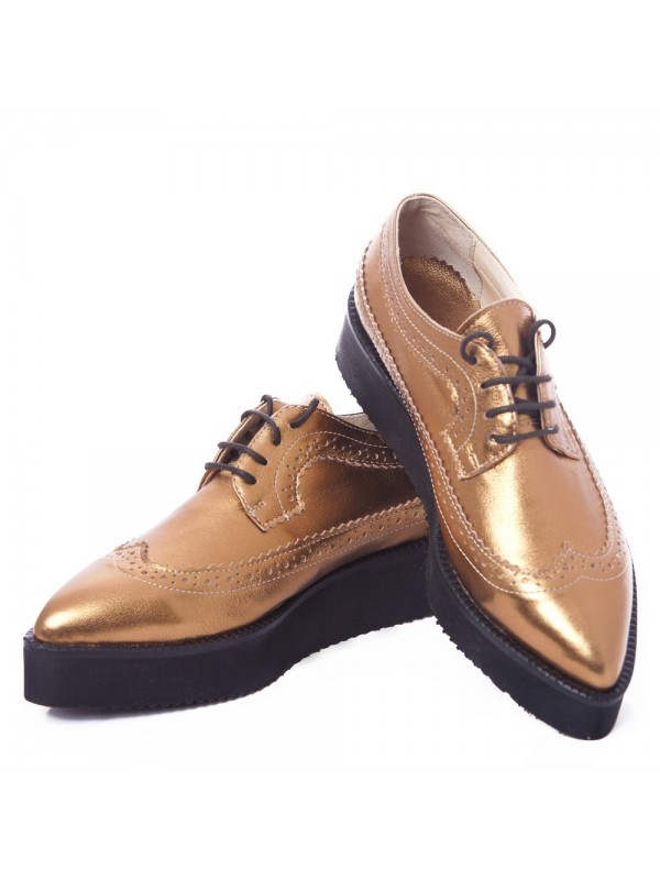 Pantofi oxford bronz femei  - shop designeri romani