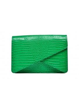 Geanta plic piele verde croco - Wild Inga