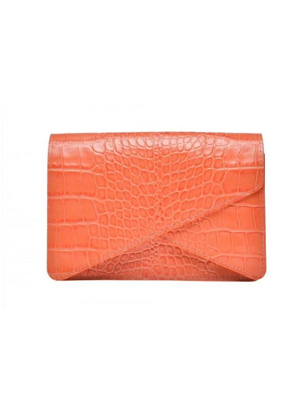 Geanta plic piele portocaliu croco - Wild Inga