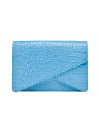 Geanta plic piele bleu croco - Wild Inga