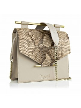Nude & Snake Print Square Bag