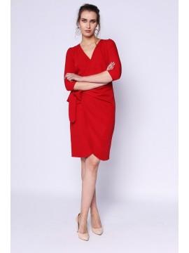 Rochie midi rosie cu cordon in talie - designeri romani