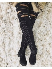Cizme peste genunchi cu siret -  piele naturala neagra