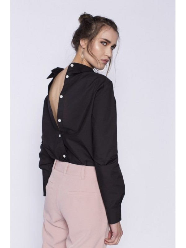 Camasa neagra cu nasturi la spate bumbac - Designeri Romani  - The ITem