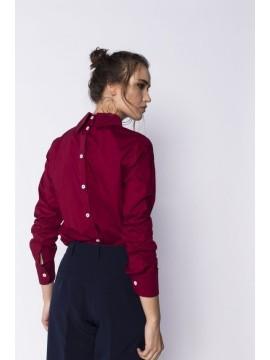 Camasa bordeaux cu nasturi la spate bumbac - Designeri Romani  - The ITem