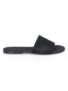Papuci Ponei blana neagra - piele naturala - Joyas