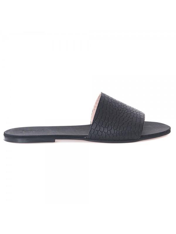 Papuci negri croco  - piele naturala - Joyas